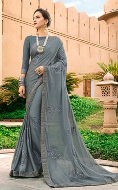 Buy Grey Embroidered Faux Georgette Saree Online | Sareeslane.com