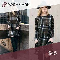 🆕SARABETH plaid shift dress - OLIVE Hidden side pockets. How darling is this plaid sweater knit dress. Such fun & warm colors for this upcoming season.   🚨NO TRADE, PRICE FIRM🚨 Bellanblue Dresses Long Sleeve