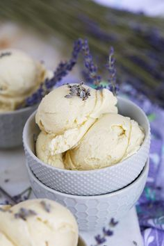 Simple and sweet, this Lavender Vanilla Ice Cream recipe is the perfect dessert for spring and summer. | @suburbansoapbox #lavender #vanilla #icecream #recipe #dessert #summer #spring