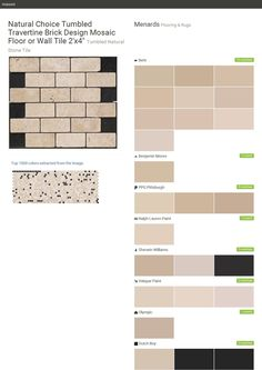 """Natural Choice Tumbled Travertine Brick Design Mosaic Floor or Wall Tile 2'x4"""". Tumbled Natural Stone Tile. Flooring & Rugs. Menards. Behr. Benjamin Moore. PPG Pittsburgh. Ralph Lauren Paint. Sherwin Williams. Valspar Paint. Olympic. Dutch Boy.  Click the gray Visit button to see the matching paint names."""