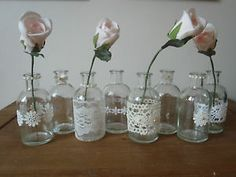 100ml glass bottles,bud vases vintage lace & pearls,wedding table & favours | eBay