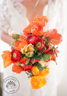 poppy bouquet - I love poppies, I have since I was little.  My Dad plants poppies everywhere in our gardens, and I can't think of a more appropriate flower to walk down the aisle with.
