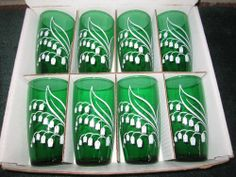 Vintage 1950s Anchor Hocking Set of 8 Emerald Green Swanky Swigs Tumblers
