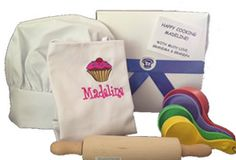 Purchase Kids Aprons, Chef Hats, Kids Cooking Utensils, & Gift Box from GrowingCooks.com. #kidsaprons