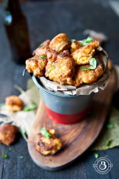 Sriracha Lime Beer Corn Fritters. Perfect 15 minute party food!