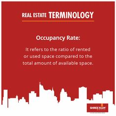 The Occupancy Rate is calculated as the ratio between the amount of space that is rented out to the amount of space still available or vacant in an #apartment or #complex. #RealEstateTerminology