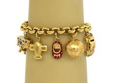Gorgeous Vintage 18K 14k Gold Ladies Charm Bracelet w 9 Charms | eBay