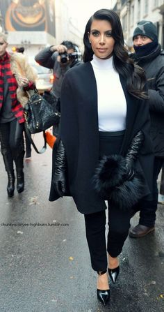 [USA ONLY] Paris, France - Kim Kardashian steps out of Hotel Costes in Paris to do some shopping at Colette boutique after the Stephane Rolland Collection Show during Haute-Couture fashion week. The reality star was out alone with just her baby bump and looked chic in a white turtleneck, black cape coat and black trousers with matching black gloves and heels. AKM-GSI January 22, 2013 [USA ONLY] To License These Photos, Please Contact : Steve Ginsburg (310) 505-8447 (323) 4239397…
