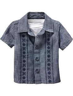 Old Navy - Chambray Guayabera Shirts for Baby - Reminds me of a Cubavera shirt for an infant!  #BabyWithSwag