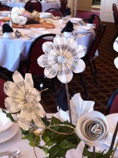Music-themed tablescape at the fall 2012 Women's Auxiliary Luncheon.