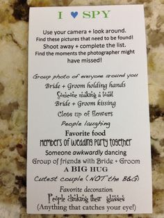 """Pocket (business card) sized """"I Spy"""" photo op game for the wedding! Reverse side has names, date, location, and graphic."""