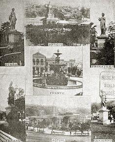 Detalle de la fuente y estatuas en fotografía de la Plaza de la Victoria y sus…
