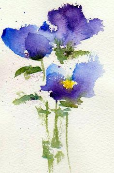 Forgiveness is the fragrance that the violet sheds on the heel that has crushed it. ~Mark Twain Watercolor Pictures, Watercolor Cards, Watercolour Painting, Floral Watercolor, Painting & Drawing, Watercolours, Simple Watercolor Flowers, Watercolor Tattoo, Tole Painting
