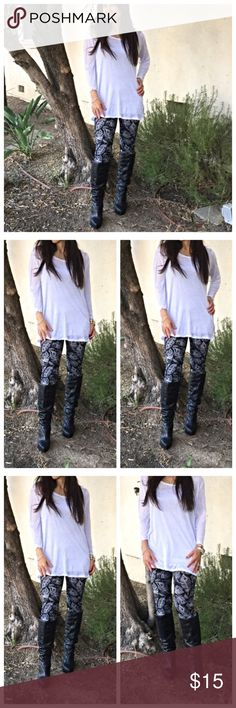 Fall leggings Black and white print fall leggings these have lots of stretch PLEASE Use the Poshmark new option you can purchase and it will give you the option to pick the size you want ( all sizes are available) BUNDLE and save 10% ( no trades price is firm unless bundled) Pants Leggings