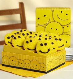 Just a whole box 'o buttercream frosted cookie smiley faces.