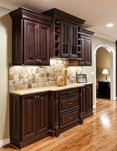 Small Kitchen Remodel Design and Kitchen Remodel Dark Cabinets Wood Countertops. Hickory Kitchen Cabinets, Backsplash With Dark Cabinets, Kitchen Backsplash, Backsplash Ideas, Kitchens With Dark Cabinets, Kitchen Counters, Dark Cabinet Kitchen, Stone Backsplash, Wood Countertops