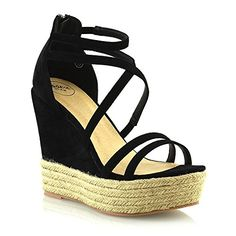 a789898f16e Price £24.99 ESSEX GLAM Womens Espadrilles Platform Wedge Heel Sandals  Ladies Strappy Summer Shoes 3