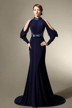 Dark Blue Mermaid  Satin Evening Dress With Appliqued Back And Puff Sleeves #Black Evening Dress#