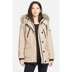 Bernardo 'Expedition' Faux Fur Trim Hooded Duffle Coat ($178) ❤ liked on Polyvore featuring outerwear, coats, taupe, bernardo, bernardo coats, duffle coat and fitted coat