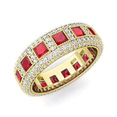 45b4f173eaf Princess Cut Ruby Eternity Ring in 18k White or Yellow Gold