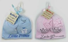 Baby Pink or Blue Hat & Bootie Gift Set, for Newborn Girls & Boys Baby Shower