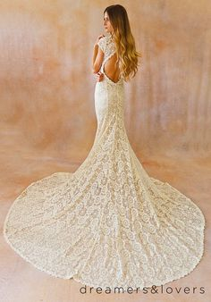 Ivory Lace Bohemian BACKLESS WEDDING GOWN. simple and elegant wedding dress with open back and long elegant train. Cap sleeves. Ivory Lace