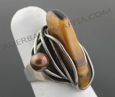 Ring | Rebajes.  Sterling silver, copper and Tiger Eye.  ca. 1940 - 1950