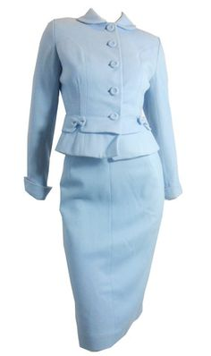 Baby Blue Bow Trimmed Fitted Wool Suit circa 1950s - Dorothea's Closet Vintage