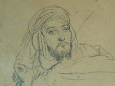 CHASSERIAU Théodore,1846 - Arabe allongé - drawing - Détail 09