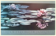 """BRIAN DAVIS WATERLILY """"A"""" The Huntington Library Art Collections 24x36 POSTER #Realism#Floral"""