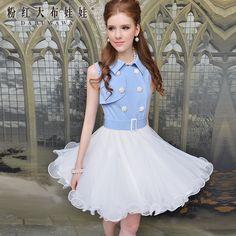 Pink big doll small lapel double-breasted blue juxtaposition waist big swing gauze sleeveless dress
