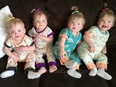 We are so lucky to have the Gardner Quadruplets wearing The Patchery! Here's what I love the most! Ashley, mom, designed a unique Baby Jumpsuit for each of the girls. I love getting a little glimpse of each girl's personality through the fabrics their mom selected for them.  Thank you, Ashley and Tyson! @gardnerquads