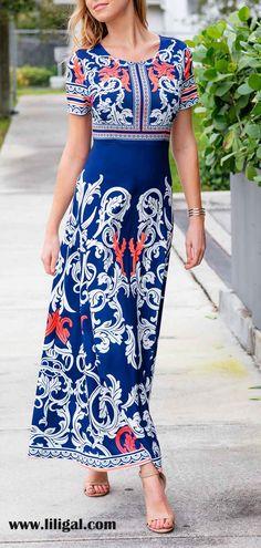 Short Sleeve Printed Navy Blue Maxi Dress #liligal #dresses #womenswear #womensfashion