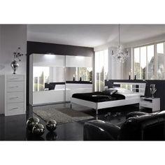 Schlafzimmer 5-tlg »LITE« in alpinweiß Glas - Spiegel und Strass