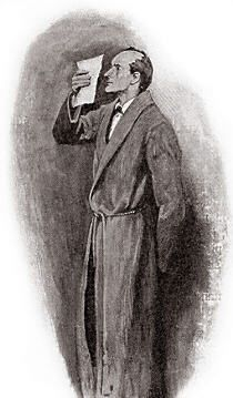 The Hound of the Baskervilles  Chapter IV, Sir Henry Baskerville,  SIDNEY PAGET,The Strand Magazine, September 1901, 'HOLDING IT ONLY AN INCH OR TWO FROM HIS EYES.'