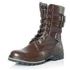 XianDao Lace Up Buckle Round Toe Rubber Sole Men Boots , Australia