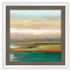 """Bring gallery-worthy style to your walls with this artful giclee print, showcasing an abstract motif for visual appeal.  Product: Framed printConstruction Material: CanvasColor: White frameFeatures:  Acrylic brushstrokeAbstract motifDimensions: 15"""" H x 15"""" W"""