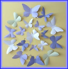 3D Wall Butterflies - 30 Lavender, Lilac Purple, Tea Green, Pink White,  Butterfly Silhouettes, Nursery, Home Decor, Wedding. $45.00, via Etsy.
