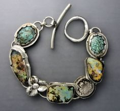 A sterling silver bracelet with three boulder opals and Tibetan turquoise cabochons.easy to in length and like with all bracelets can be made larger. Jewelry Art, Jewelry Bracelets, Vintage Jewelry, Jewelry Accessories, Jewelry Design, Fashion Jewelry, Jewlery, Vintage Bracelet, Bangles