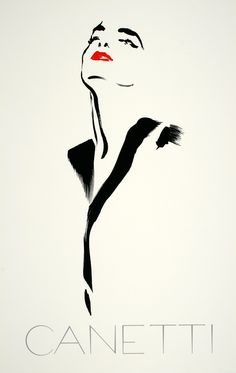 This is an original vintage poster created in 1975 by the Italian artist and illustrator, Michel Canetti. It was created in the minimalist style that is so appropriate to this striking fashion image. It is a tribute to the feminine form.