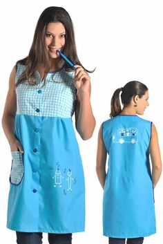 uniformes modernos para maestras de preescolar - Buscar con Google Blouse Nylon, Nylons, Bead Loom Patterns, Dresses For Work, Summer Dresses, Loom Beading, Diy Clothes, Smocking, Work Wear