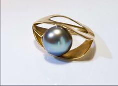 """Ring """"aqua"""",gold with Tahitian pearl www.leraginsburg.com"""