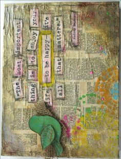 mixed media national craft month vintage book pages old book pages collage paint wax Fiskars Fuse bird burlap Tim Holtz Distress Paints Walnut Hollow heat tool encaustic wax
