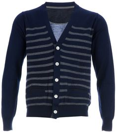 Navy and White Horizontal Striped Cardigan by Sacai. Buy for $1,166 from farfetch.com