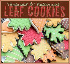 Textured & Patterned Autumn Leaf Cookies - Cookie Crazie