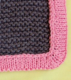 How to add a knitted border to a baby blanket -- pick up stitches and knit in the round. The Purl Bee