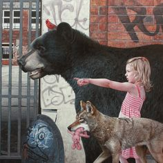Hyperrealistic Paintings of Children and Animals Exploring Urban Remains