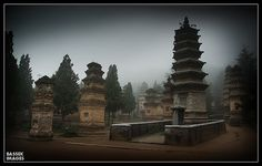 The pagoda forest on a very misty day at the Shaolin Temple, Zhengzhou City Henan Province, China.