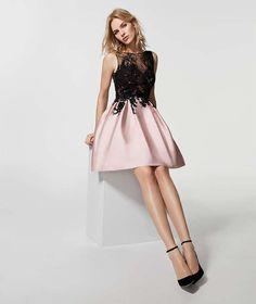 Minidress cerimonia Pronovias - Vestito corto nero e rosa cipria di  Pronovias 2018 Abiti Gala b7583f15370