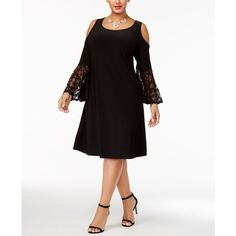 R & M Richards Plus Size Cold-Shoulder Dress ($79) ❤ liked on Polyvore featuring plus size women's fashion, plus size clothing, plus size dresses, black, cut out formal dresses, open shoulder dress, plus size formal dresses, women plus size dresses and bell sleeve dress